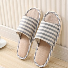 New Adult Linen Striped Slippers Women House Summer Flax Shoes Indoor Floor Sandals Size 42-45 цена 2017