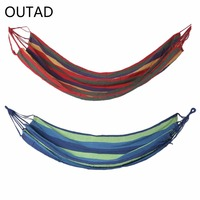 OUTAD Outdoor Portable Hammock Garden Sports Home Travel Camping Canvas Stripe Hang Swing Single Bed Hammock