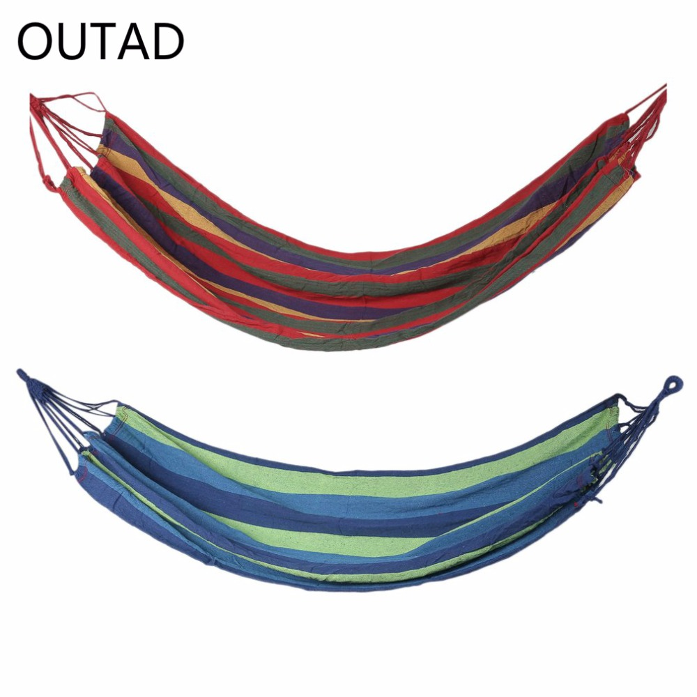 OUTAD Outdoor Portable Hammock Garden Sports Home Travel Camping Canvas Stripe Hang Swing Single Bed Hammock Red/Blue 2017 portable nylon garden outdoor camping travel furniture mesh hammock swing sleeping bed nylon hang mesh net