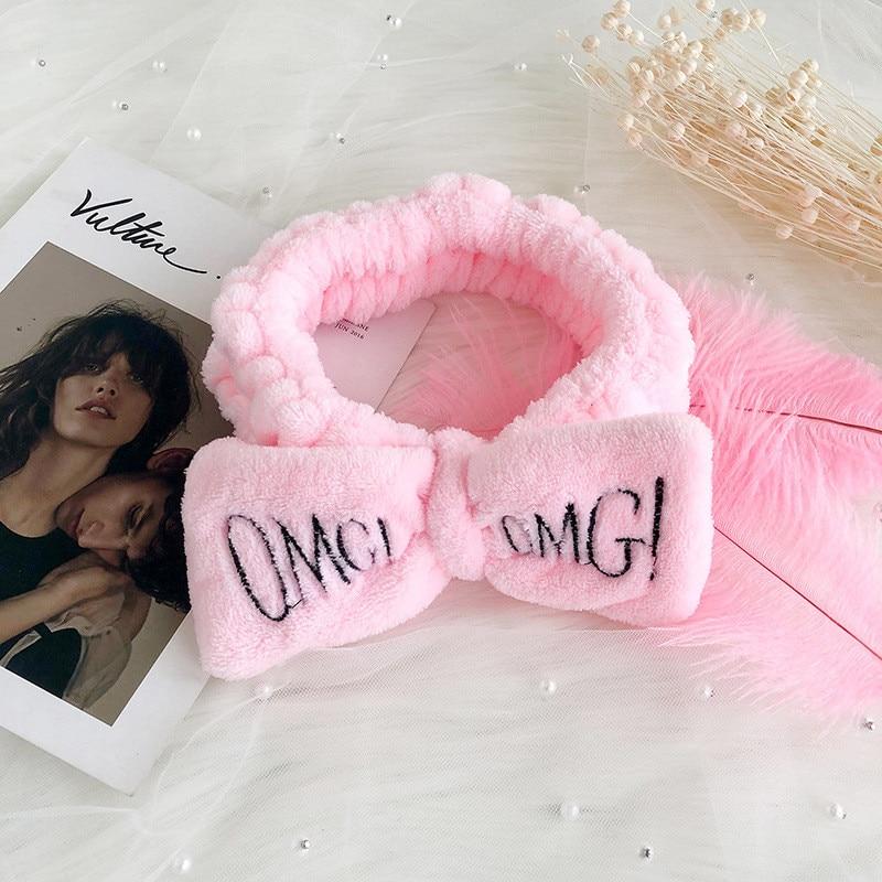 Letter 'OMG coral plush soft bow headband ladies girls fashion hairpin wash hair band headband hair accessories hair band wom in Women 39 s Hair Accessories from Apparel Accessories