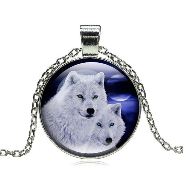 Wolf Moon Pendant Necklace Glass Cabochon Silver Various Colours