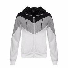 2017 Fashion Casual Hoodies Men O-neck Hombre Hip Hop TrackSuit 3 color Splicing Male Sweatshirt Cotton Slim Fit Men Hoody