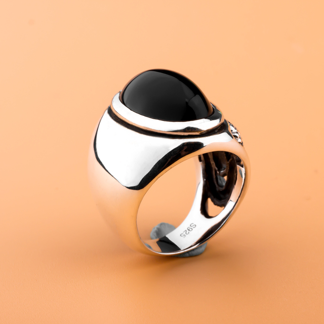 brixini.com - Natural Hand-carved Agate Snake Pattern Solid 925 Sterling Silver Ring