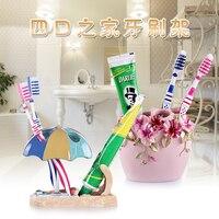 Résine dent brosse à dents titulaire trois quatre siège couple famille salle de bains de lavage rack de stockage étagère stylo