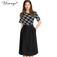 Vfemage Womens Elegant Vintage Summer Print Belted Tunic Pinup Patchwork  Work Office Casual Party A Line Skater Dress 2127