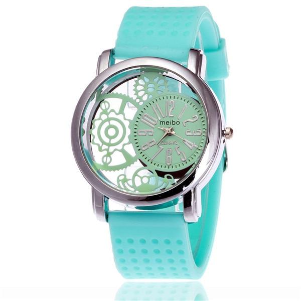цена MEIBO 2087 women Fashion Silicone Watch Casual Women Dress Quartz Watches Clock green онлайн в 2017 году