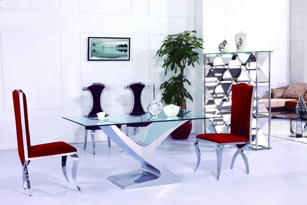 €559.31 |Mesa de comedor de mármol y silla mesas de comedor modernas  baratas 4 sillas-in Mesas de comedor from Muebles on AliExpress