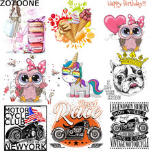 ZOTOONE Cartoon Unicorn Owl Clothing Tin Sticker DIY Auto Alphabet Printing Patch Theat transfers for clothes thermal press D