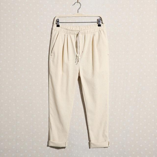 Nova chegada de verão calças de linho calças de linho de algodão solta e reta calças de comprimento no tornozelo