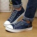 ZNPNXN Джинсовые Холст Обувь Мужчин Повседневная Обувь Зашнуровать Синий Мужской Обуви Квартиры Zapatos Хомбре Chaussure Homme 2016