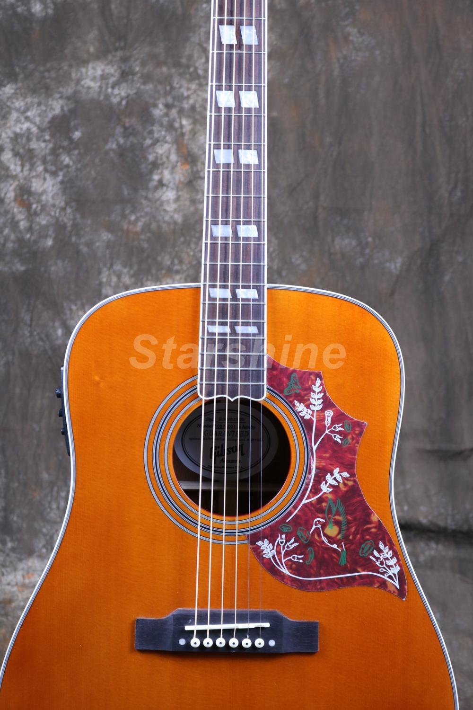 Starshine 6 cordes guitare acoustique ZZ-HMY Fishman 101 EQ, haut rigide, écrou d'os et selles ronflant oiseau Pickguard Grover Tuner - 4