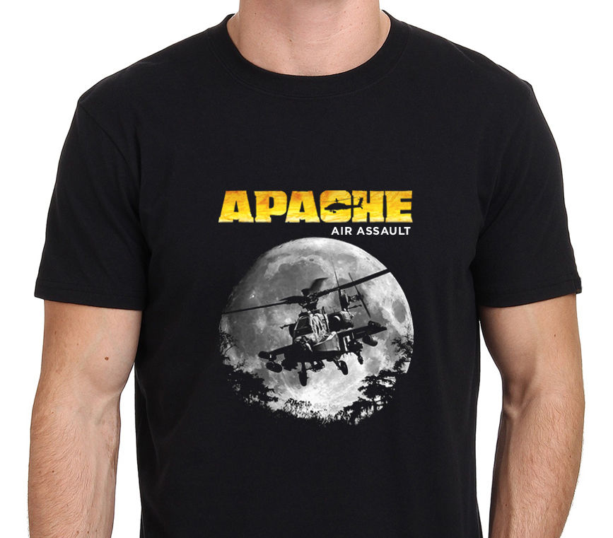2018 Crew Neck Brand New Tee shirt 100% Cotton Apache Air Clothes New Assault Attack Helicopter Mens Black short Tee Shirt