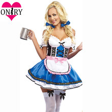 62e0542e3f Adult Cosplay Dress Plus Size Halloween Costumes For Women Sexy Oktoberfest  Beer Girl Costume German Bavarian Beer Maid Outfits