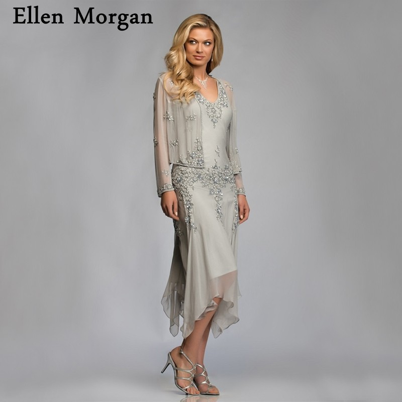 Silver Chiffon Mother of the Bride Groom Dresses with Jacket 2019 for Summer Wedding Party Gowns Tea Length Chiffon Godmother