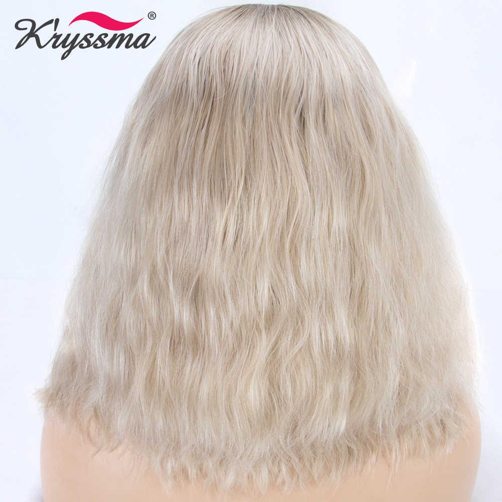 Pelucas para mujeres Rubio Ombre peluca sintética peluca con malla frontal corto rizado suelto marrón raíces Bob sin costuras de alta temperatura de fibra