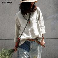 BUYKUD Casual Autumn Shirt Women Loose Linen Pullover Long Sleeve Beige Shirt Blouse Vintage Ladies Tops And Blouses Blusas 2018