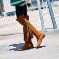 Venta caliente del tamaño Grande 34-43 Mujeres Overknee Sexy Botas de Punta Redonda Plana Zapatos de Invierno Primavera Otoño de Alta Calidad DL6-27