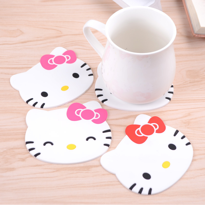 Hello Kitty Kitchen Accessories: 1Pc Hello Kitty Silicone Anti Slip Kawaii Cup Mats Dish