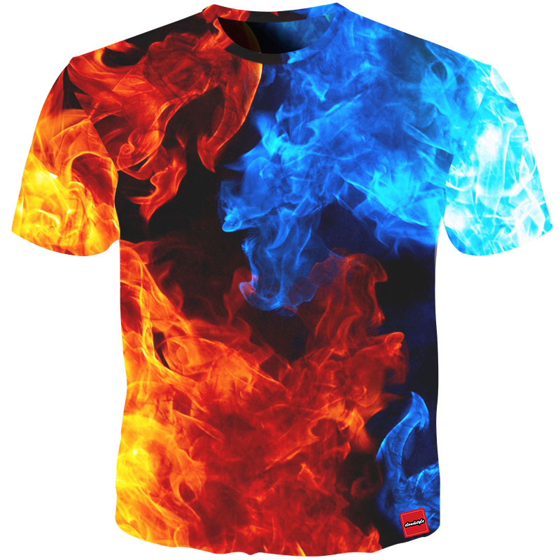 Cloudstyle 2018 New Design Summer Men's Tshirt 3D Print Ice Fire Hip Hop T-shirt Men Streetwear Hipster Crewneck Tee Shirt Tops