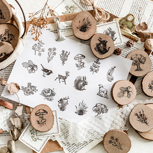 Image 2 - Vintage round wooden animal plants stamp DIY decal for scrapbooking stamp zakka stationery office school supplies gift