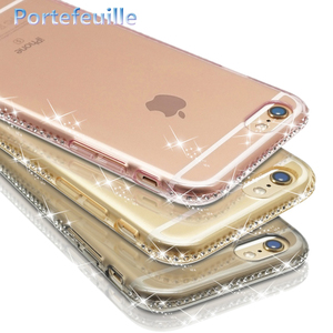 For iPhone X Case Luxury Glitter Rhinestone Silicone Cover For Apple iPhone 7 Plus 8 6 6S 5 5S 11 Pro Max XR XS SE 2 2020 SE2(China)