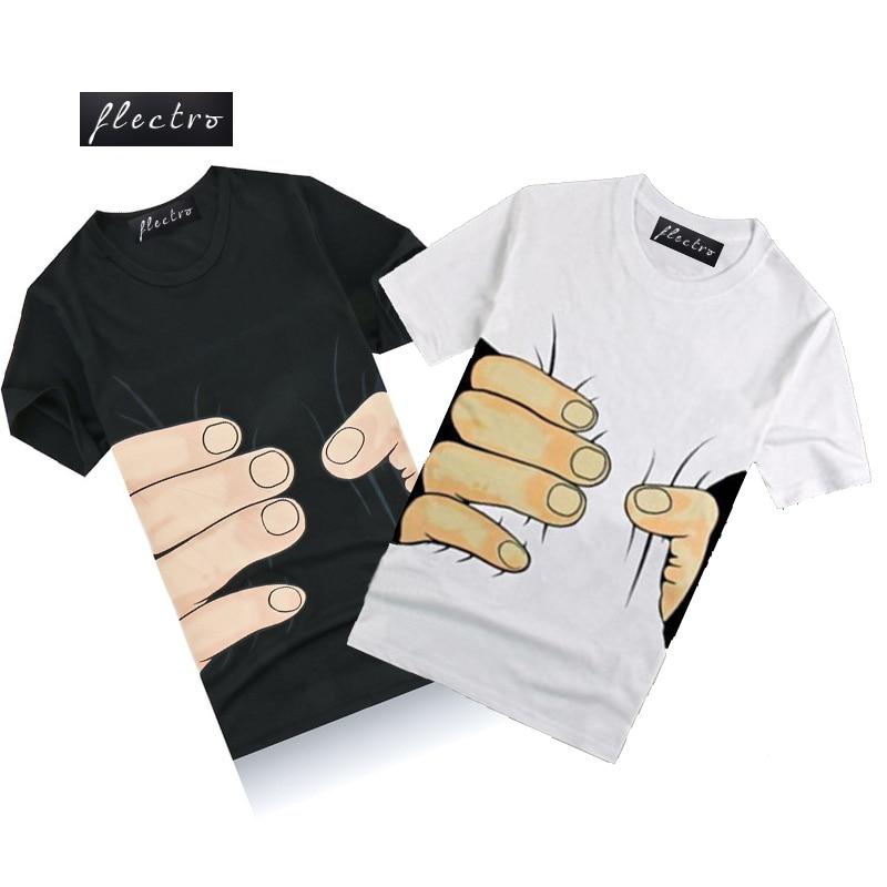 A estrenar 2016 Verano Hombre Casual Manga Corta Manos Grandes Divertido 3D Camiseta O Cuello Moda Hip Hop Camiseta Fitness Tops Camiseta homme F
