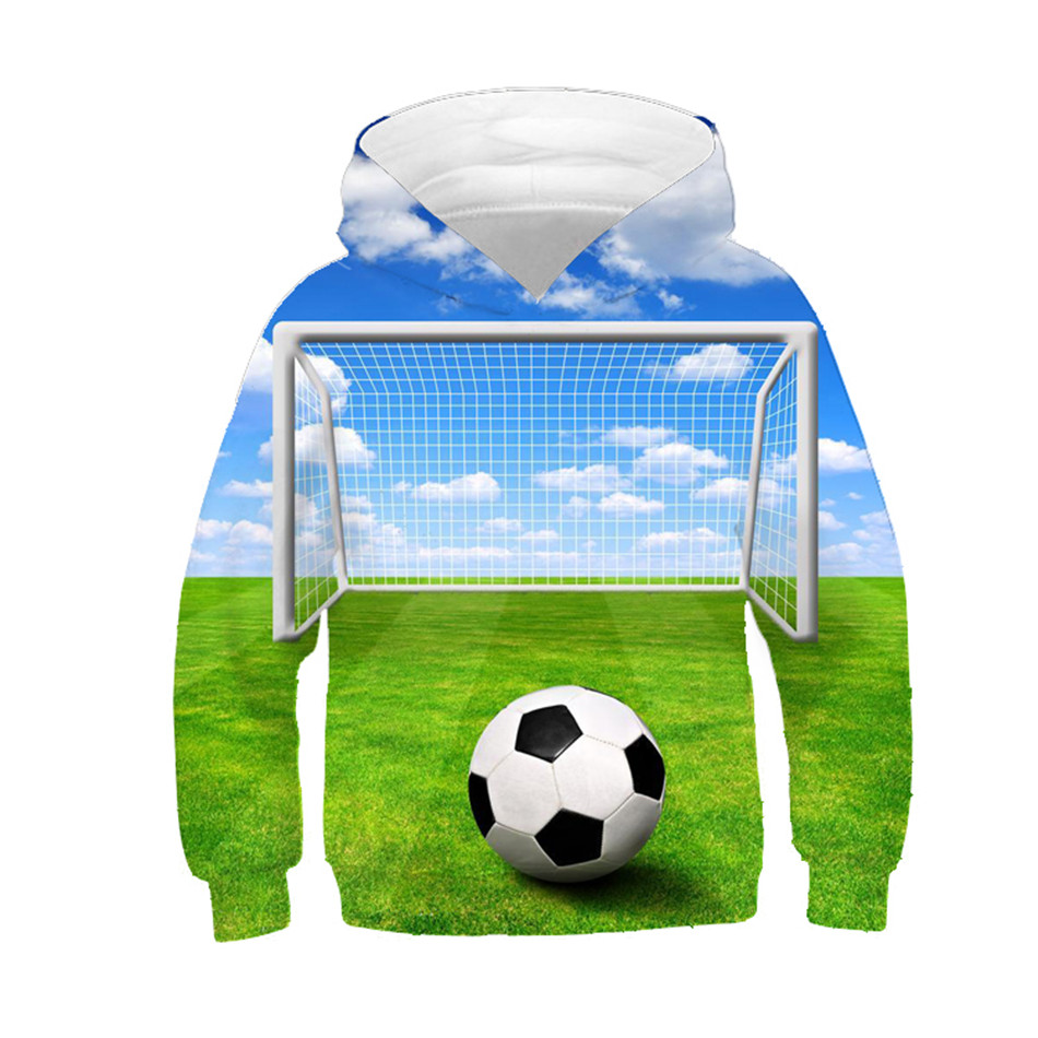 US $11.29 25% OFF|2019 Children 3D Sweatshirt Football Green Weed Blue Sky Cloud Print Hoodies BoyGirl Lovely Creative Clothes Kids Pullover Tops in