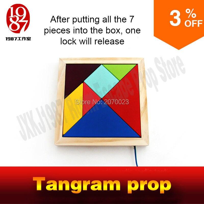 Tangram опора для номер побег игры, Соберите все изделие штук фигура из пазл подсказок и разблокировать камеры комната