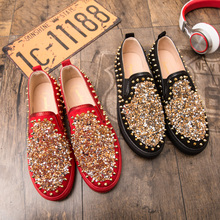 Fashion Red Sequin Rivets Men Casual Shoes Flats Moccasin Homme Loafers Revert Party Luxury Brand Male Sneakers Driving Shoes fashion rhinestone crystal rivets party shoes men luxury brand design casual shoes mens loafers crystal italian men shoes flats