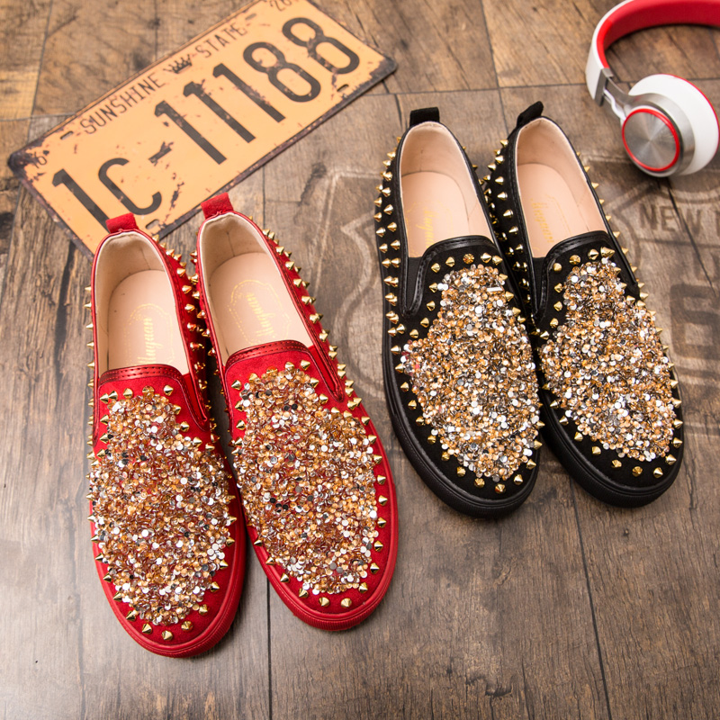 Rouge Mode Sneakers Rivets Chaussures Partie Mocassin Appartements Conduite red Sequin Homme Mocassins Revenir Hommes Black Luxe Marque Occasionnels De eEbDIH2YW9