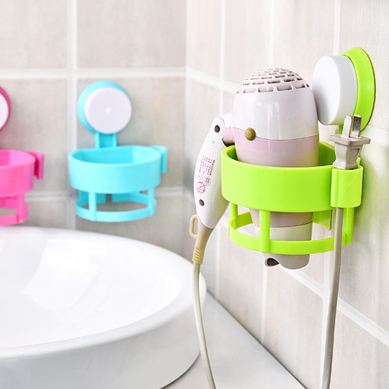 Wall-mounted Removable Sucker Hair Dryer Holder Stand Rack Shower Room Bathroom Hairdryer Orgnizing Holder With Suction