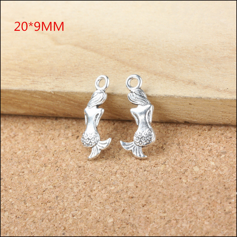 100PCS Vintage Silver Alloy Mermaid Pendant Charms DIY Alloy Jewelry Findings Charm Fit for Phone Chain Keyring Earring Bracelet