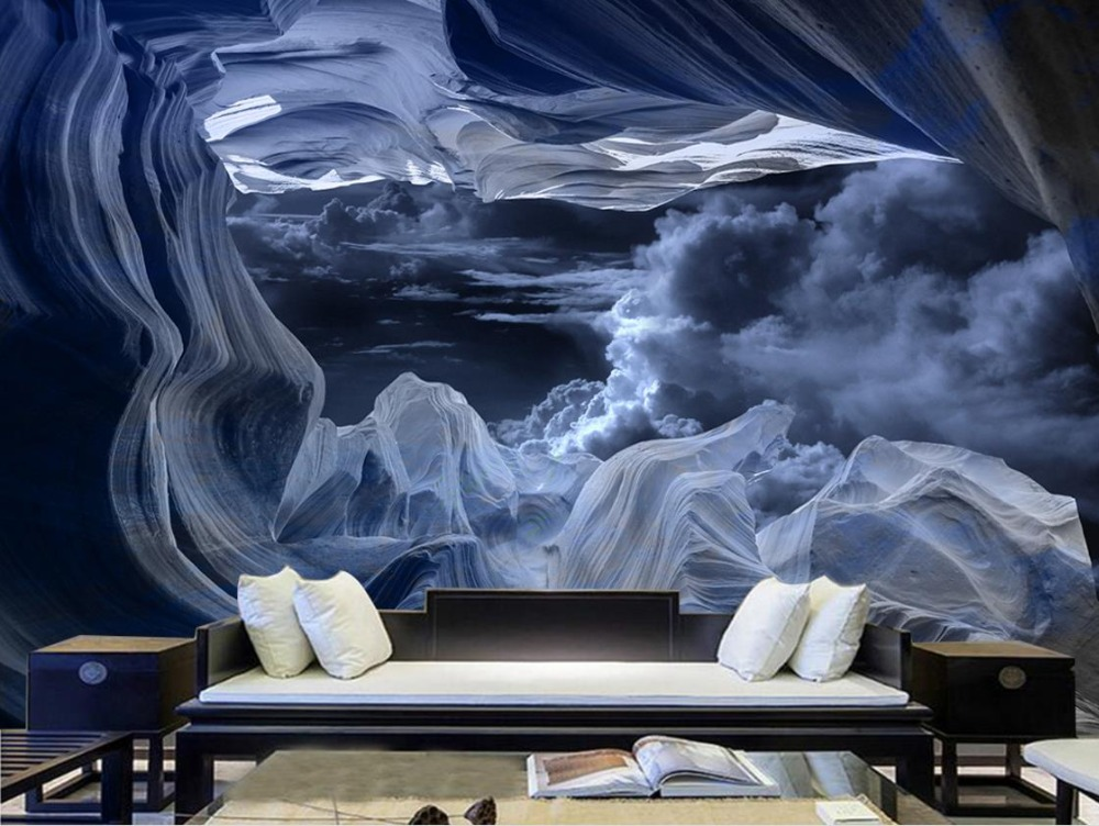 Wall papers Home Decor Dark Sky 3d Wallpaper Photo For Living Room Bedroom Kitchen Background Wall