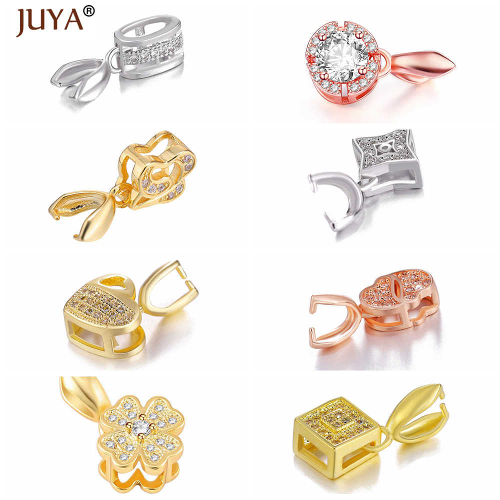 Handmade Jewelry Findings Components Gold Silver Rose Gold Zirconia Charms Bail Connector Bale Pinch Clasp Pendant Make Necklace