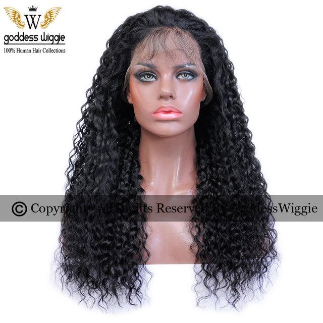 130-150 Densidad Negro Natural Rizado Del Pelo Humano Pelucas Delanteras Del Cordón Para Las Mujeres Negras Pelucas Llenas Del Cordón Rizado Remi Pelucas del cordón