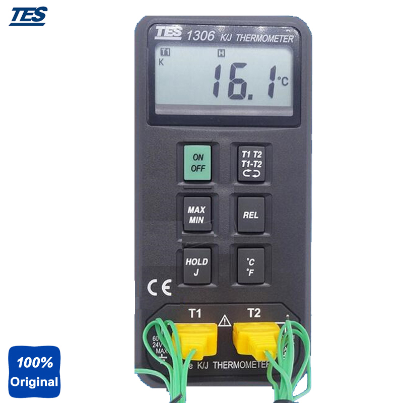 TES-1306 Digital Thermometer Auto Ranging K/J Type Thermocouple Thermometer az 8851 3 in 1 portable k j t single thermocouple thermometer meter thermometer tester