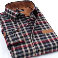 Brand Clothing 2016 New Men Thickening Imitation Wool Plaid Shirt Lapel Leisure Long Sleeved Shirt Camisa