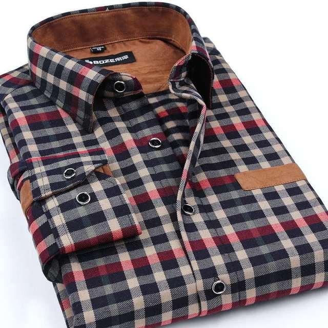 Boze brand clothing 2017 новые люди утолщение имитации шерсти клетчатую рубашку лацкан досуг рубашку с длинными рукавами camisa masculina s-5xl