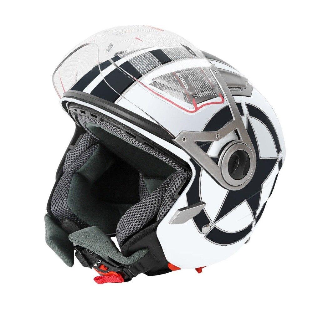 Moto Blanc 3/4 Open Face Double Visière DOT Adulte Moto Scooter Casque S/M/L/XL
