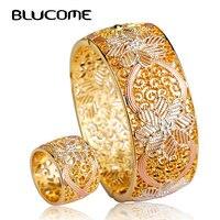 Enamel Dubai Gold Women Bangle Ring Set 18k Gold Bangle Bracelet Ethiopia Africa Arab Bangles Ring