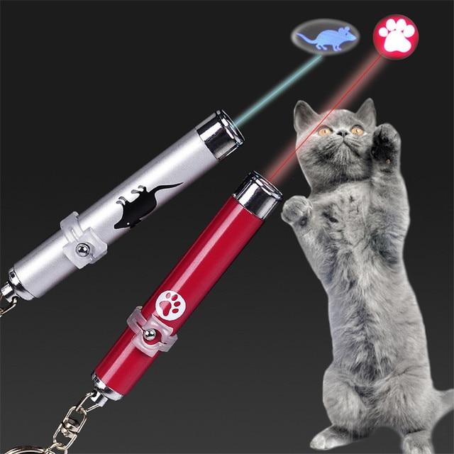 Забавная светодиодная Лазерная игрушка для домашних животных, Лазерная Игрушка для кошек, указка для кошек, световая ручка, Интерактивная игрушка с яркой анимационной мышью, тенью