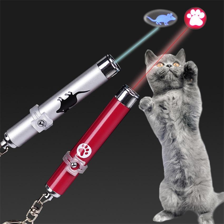 Mascotas Láser LED gato de juguete con láser gato de juguete luz puntero pluma interactivo juguete con animación brillante con sombra de ratón juguetes pequeños animales