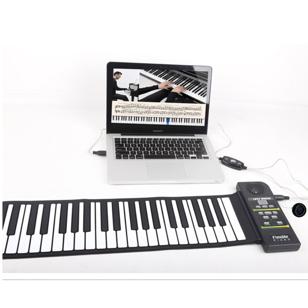88 Keys Roll Up <font><b>Piano</b></font> <font><b>Digital</b></font> <font><b>piano</b></font> Flexible Silicone Folding Electronic Keyboard for Children Student Musical Instrument image