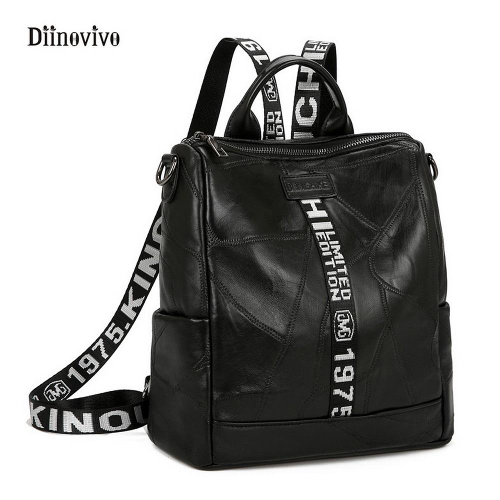 DIINOVIVO Punk Style Luxury Leather Women Backpack Girls Rivet Travel Bag Simple Brand Letter Shoulder Belt School Bags WHDV0177 paste rock style genuine leather women backpack fashion rivet decoration women s travel bags soft cowskin women punk bag