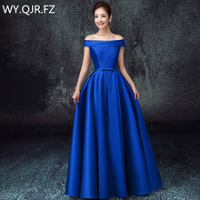 LBHS2145L Off Shoulder lace up plus size 2018 new blue bridesmaid dresses  autumn winter bride s ba582c249684