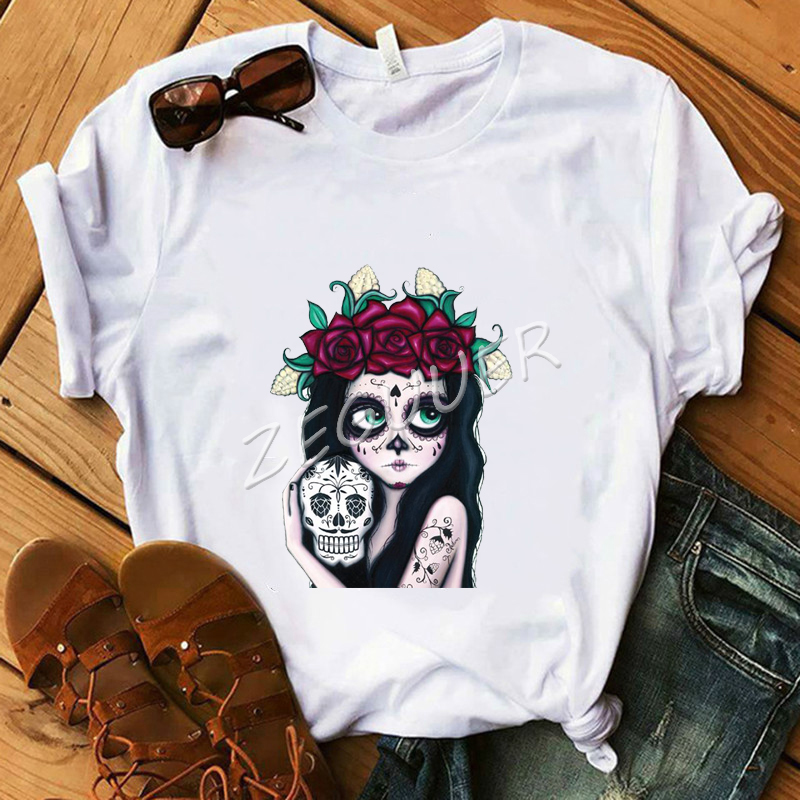 Flower Skull Girl T-Shirt Lady Rose Tattoo Streetwear Punk Tops White Cotton O-Neck Casual Tees Mexico Day Of Dead Shirt