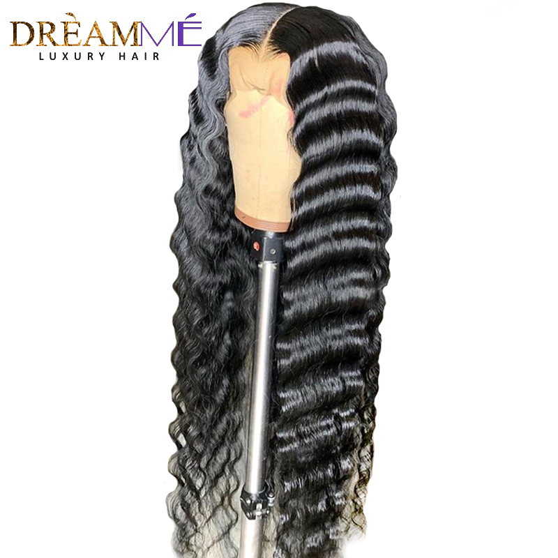 13*6 Deep Part Lace Front Human Hair Wig For Black Women PrePlucked Brazilian Deep Wave Wig With Baby Hair Remy Wig Full End-in Human Hair Lace Wigs from Hair Extensions & Wigs