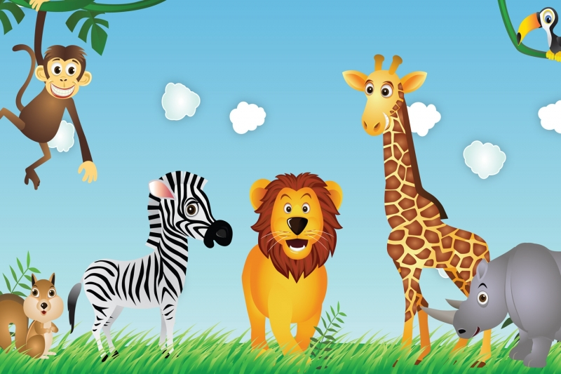Buy mural cute animals kids wallpaper for 3d wallpaper for kids bedroom