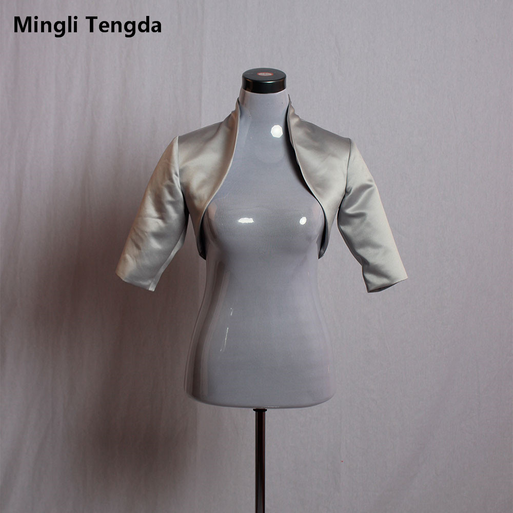 2019 New Silver/Grey Satin Wedding Bolero/Tippet/Shrug/Bridal Jacket/Stole/Wrap Half Sleeves Lined Custom Made Mingli Tengda