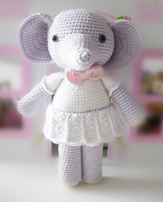 crochet baby Amigurumi the elephant rattle-in Baby Rattles & Mobiles ...
